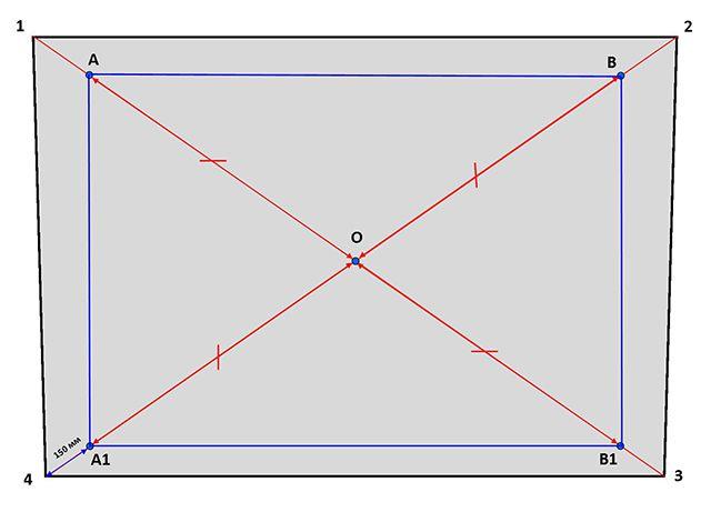 Получаем прямоугольник из равенства диагоналей