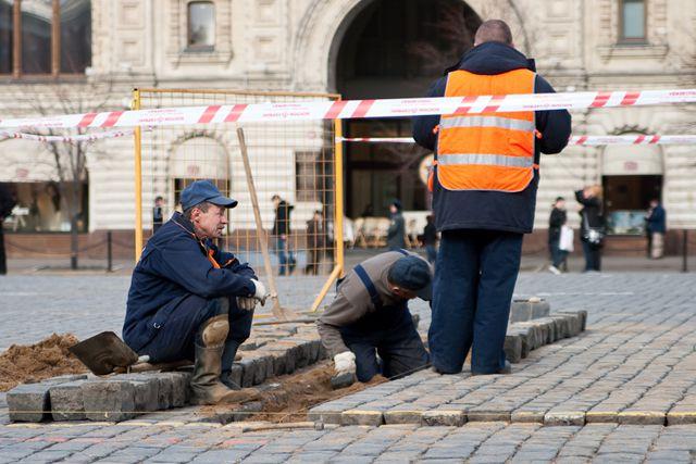 Ремонт брусчатки на Красной площади