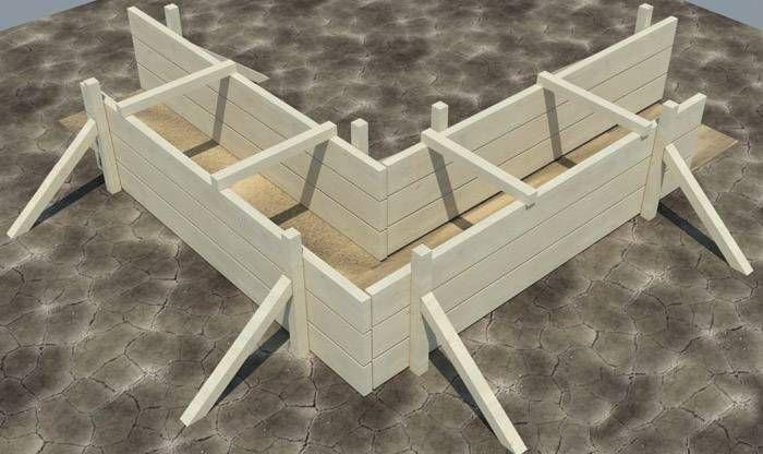 Толщина доски зависит от высоты опалубки и шага установки вертикальных стоек