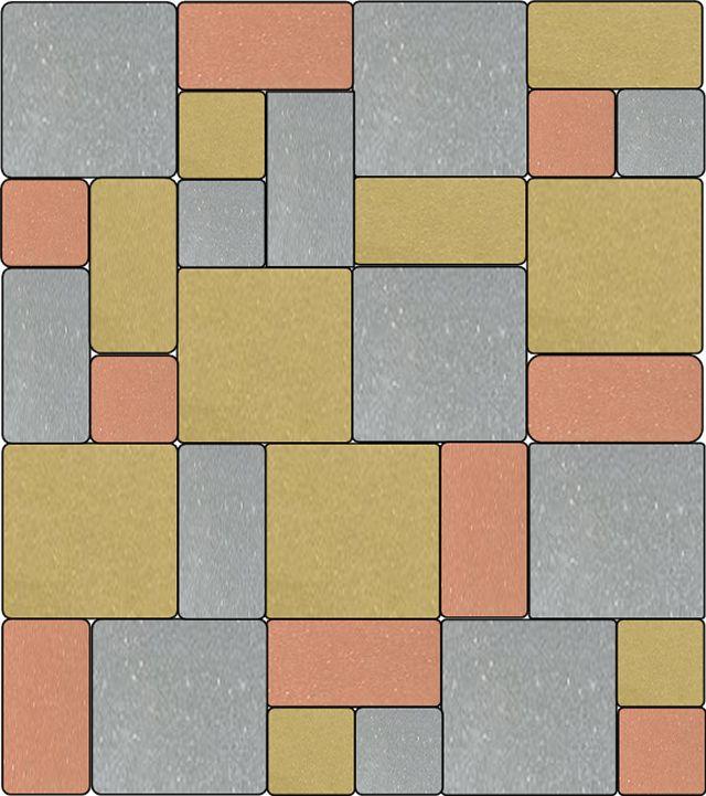 Раскладка брусчатки «Европейский брук» камнями разного цвета