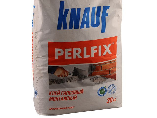 Удобнее всего пользоваться специальным монтажным клеем на гипсовой основе — «Кнауф-Перлфикс»
