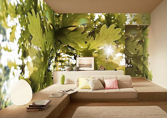 Хорошо подобранные фотообои для одной-двух стен гостиной могут создать совершенно уникальное интерьерное оформление