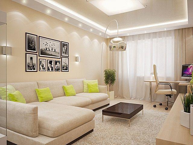Очень уютная гостиная в мягких бежевых тонах, в интерьере которой можно использовать яркие цветные пятна – в данном случае это желтые подушки и зелень комнатных растений