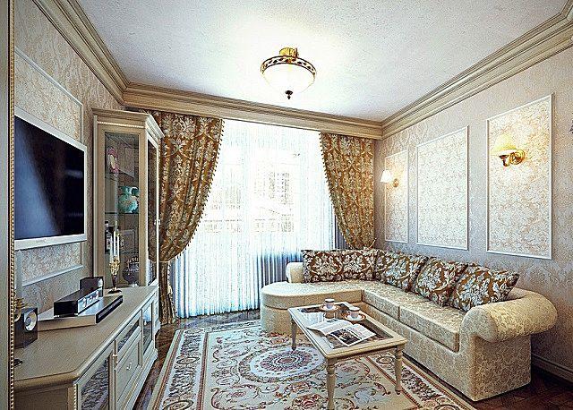 Гостиная, отделанная с соблюдением канонов классического стиля