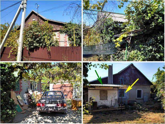 Дом с нескольких ракурсов – утопающий в винограде и плюще фасад, двор с гаражом, и пока еще неприглядная северная стена, со стороны сада-огорода