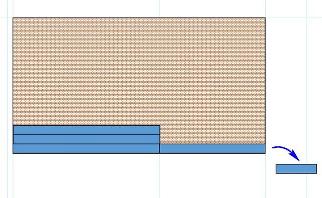 «Обрезки» можно накапливать в стороне, чтобы использовать, например, при «облицовке» следующей «стены».