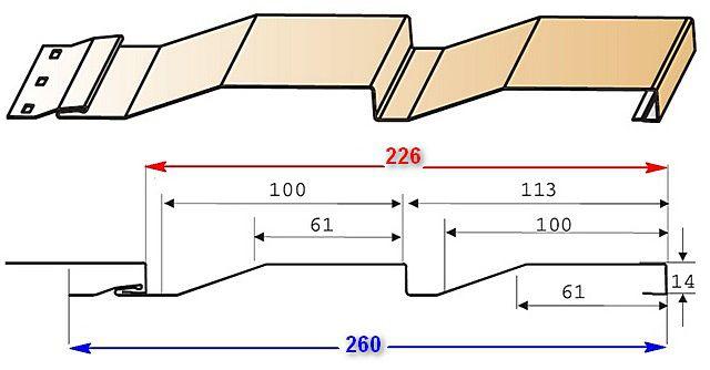 Схема панели сайдинга с выделением общей и рабочей ее ширины