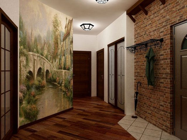 Красивый вариант отделки стены у входной двери с улицы