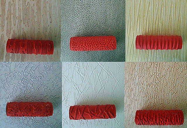 Пример рельефов, оставляемых валиками на нанесенной сырой штукатурке
