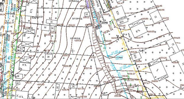 Фрагмент топографической съемки участка. Неспециалисту разобраться трудно