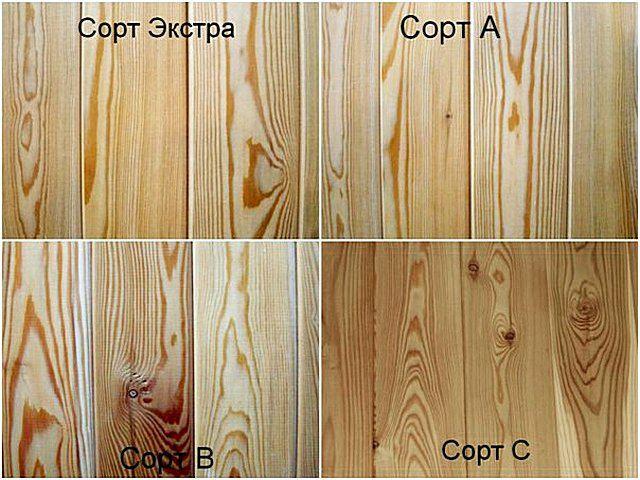 На иллюстрации наглядно показаны различия в качестве древесины по классам вагонки