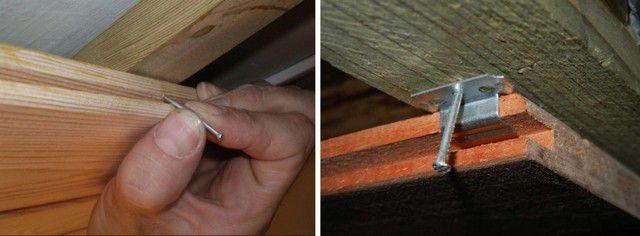 Два основных способа крепления вагонки к брусьям обрешётки – гвоздями через паз и с помощью специальных кляймеров.