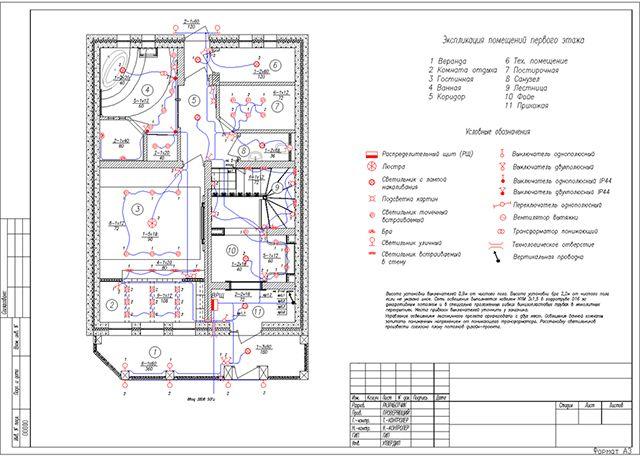 План освещения из проекта электроснабжения