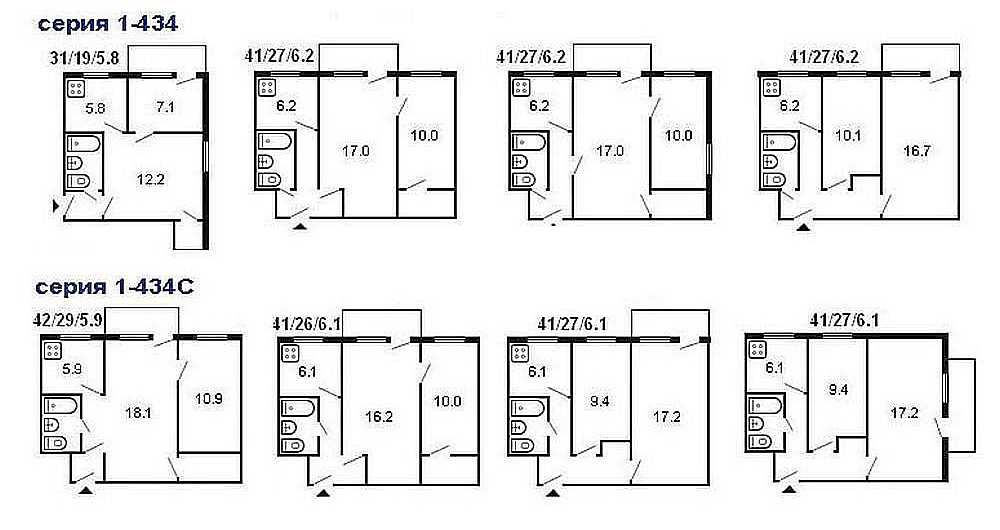 На схеме показаны типичные планировки двухкомнатных квартир в «хрущевках»