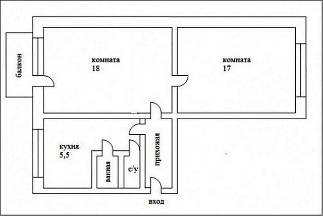 Первоначальная планировка квартиры типа «трамвай»