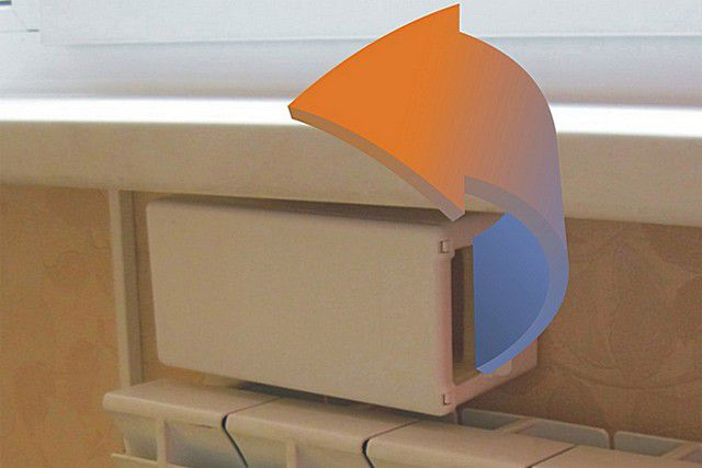 Корпус клапана разместился под подоконником, непосредственно над радиатором отопления.