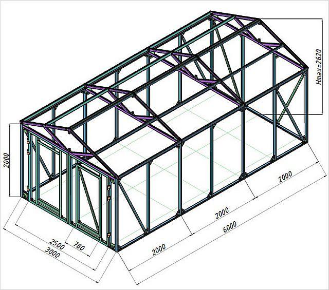 Пример чертежа каркасного гаража.