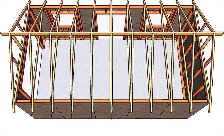 Примерная схема стропильной системы двухскатной крыши