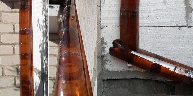 Если чувствуется ограниченность в средствах, а к водостоку на хозяйственной постройке не предъявляется особых требований по декоративности, то можно его смастерить из обычных пластиковых бутылок