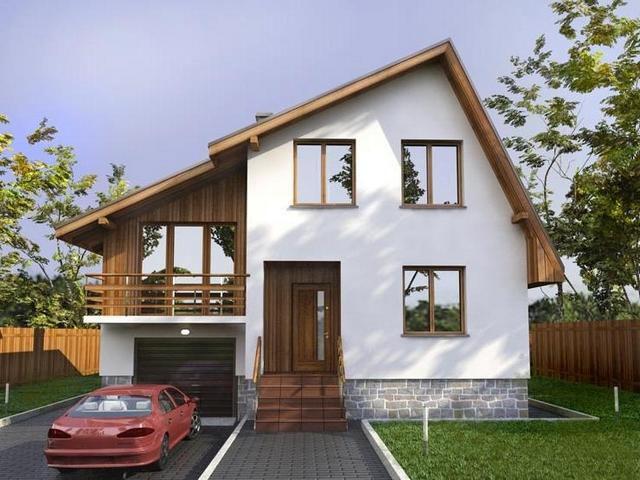 Оригинальное решение – скаты крыши различаются и по углу наклона к горизонту, и по длине