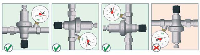 Разрешенные и запрещенный способ установки клапана подпитки