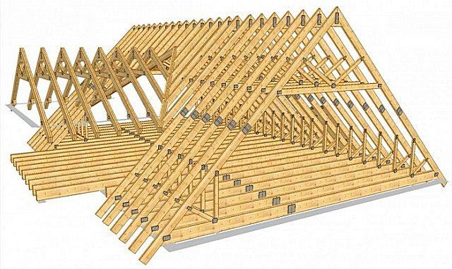 Усиление стропильной системы горизонтальными затяжками, вертикальными стойками (бабками) и диагональными подкосами.
