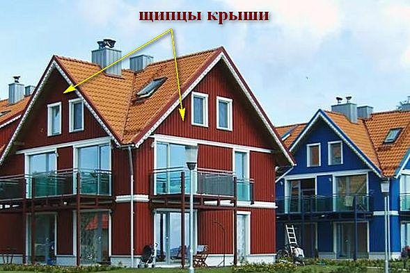 На иллюстрации очень хорошо продемонстрировано, почему подобная крыша носит название многощипцовой