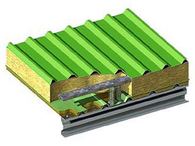 Кровельная сэндвич-панель и двух листов профнастила со слоем термоизоляции между ними