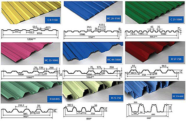 Ассортимент выпускаемого профнастила – весьма широк. Для кровельных работ обычно применяют модели с высотой волны от 20 до 50 мм, толщиной металлического листа не менее 0,45 мм.