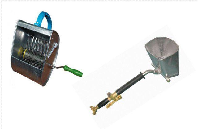 Ручной и пневматический (хопер) разбрызгиватели штукатурки – отлично подойдут для первой стадии работы