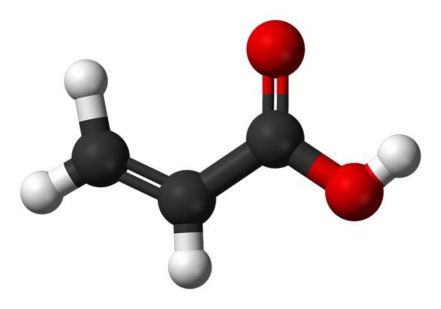 Пространственная модель акриловой кислоты, давшей название огромному классу полимерных материалов
