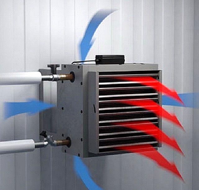 Принцип работы приборов воздушного отопления с водяным теплообменником