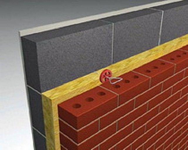 Один из вариантов применения утеплителей серии «Knauf Фасад» — термоизоляционная прослойка между самой стеной и кирпичной декоративной облицовкой