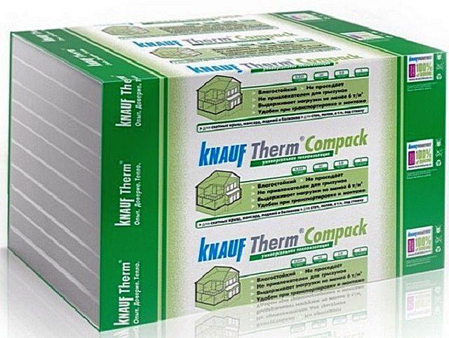 Очень широкой популярностью пользуются утеплительные плиты «Knauf Therm Compack» — за удобство работы с ними именно в частном строительстве