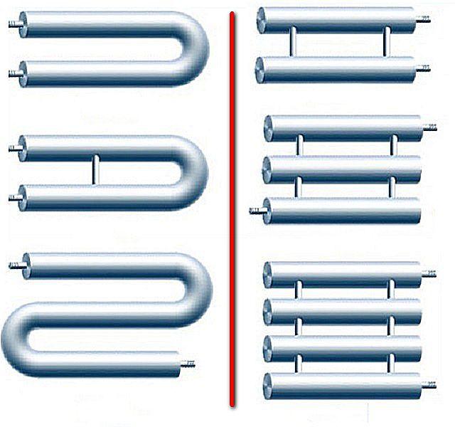 В левой части иллюстрации показаны змеевиковые регистры, в правой — секционные