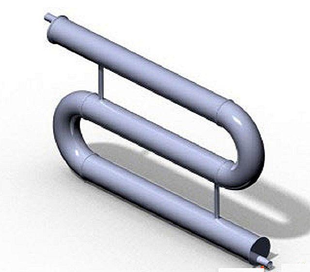 На этой иллюстрации хорошо видны соединительные швы дуг с прямыми трубами регистра. Могут применяться и два последовательных отвода на 90 градусов
