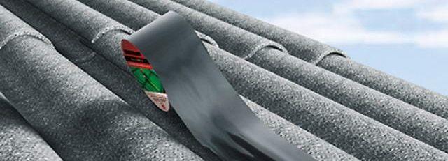 Специальная лента для заклеивания продольных трещин по гребню волны шифера