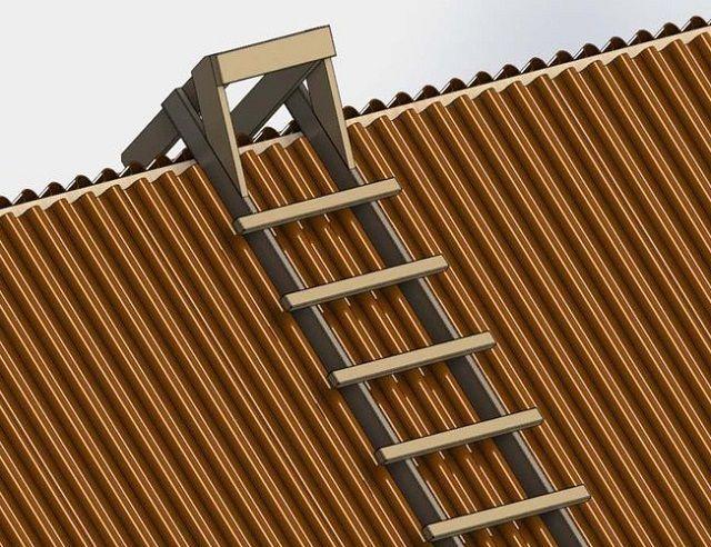 Специальная лестница, облегчающая кровельные работы на крутых скатах крыши