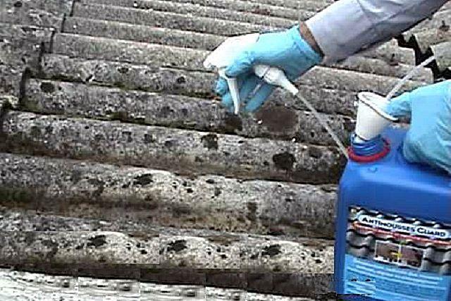 Заросли мха или лишайника на кровле можно удалить, применив специальные химикаты