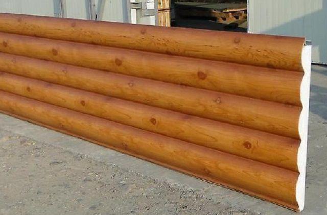 Интересная сэндвич-панель, имитирующая бревенчатую стену. В качестве декоративного внешнего слоя использован профилированный стальной оцинкованный лист, имеющий полиуретановое покрытие.