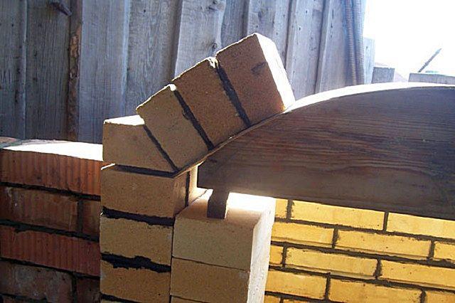 При кладке арочного перекрытия обычно пользуются заранее подготовленным шаблоном