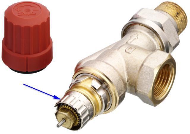 Стрелкой показано регулировочное кольцо для предварительной установки пропускной способности клапана