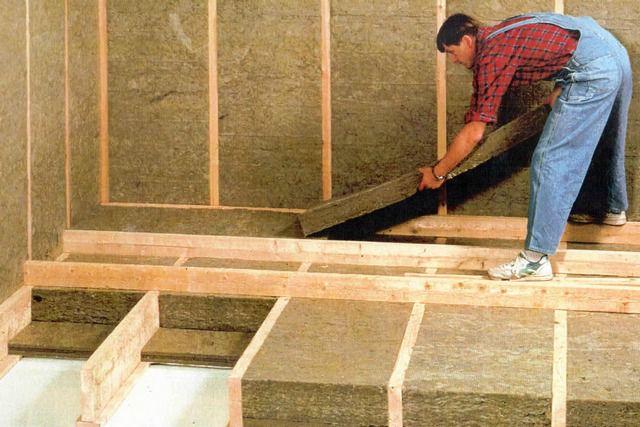 Утепление стен и пола каркасного дома базальтовой минеральной ватой