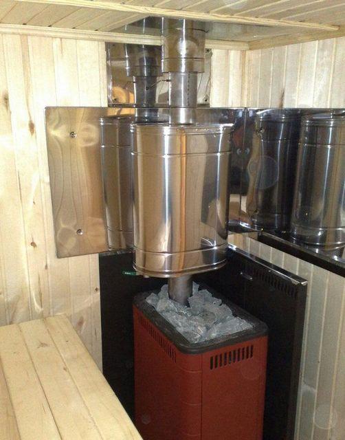 Для подогрева воды используется бак, установленный на начальном участке дымоходной трубы.