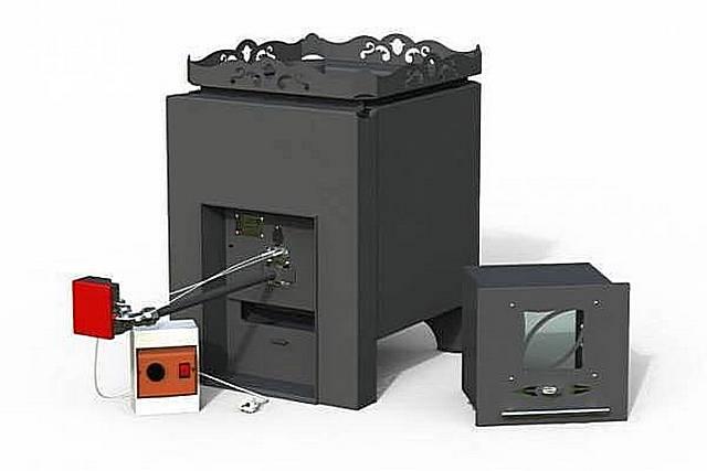 Печь банная П-2ГТ по желанию потребителя может комплектоваться газовым блоком или (и) топливоприемником для дров…