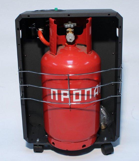 Стандартный газовый баллон нередко устанавливается непосредственно в корпусе обогревателя