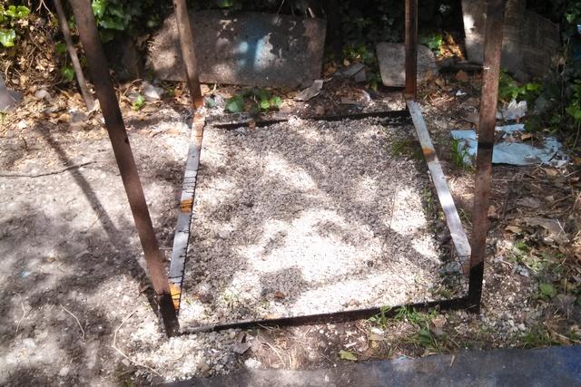 Верхнее гравийное заполнение ямы непосредственно под самим душем