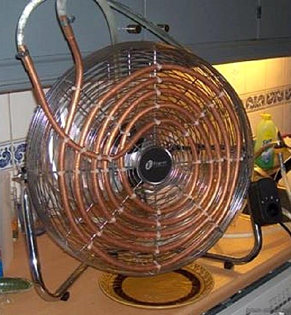 Мини-кондиционер из вентилятора и медной трубки-теплообменника