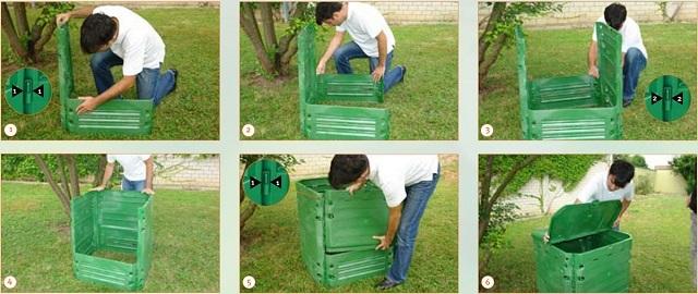 На этой подборке иллюстраций показано, как легко и быстро собирается готовый компостный контейнер