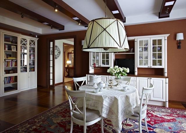Оформление в кантри-стиле больше уместно для просторныхпомещений частных домов